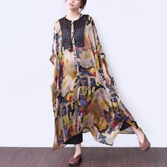 Splicing Printing Loose Short Sleeves Women Yellow Dress