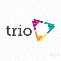 Logo for sale: Simple, modern and abstract design consisting of geometrical overlapping shapes that create the three sides of a triangle.