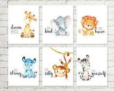 Safari Nursery Art Baby Giraffe Elephant Lion Print Jungle