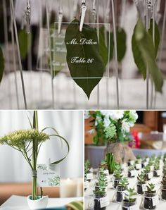 Modern green place cards - acrylic name cards with green leave and mini plants with name tags