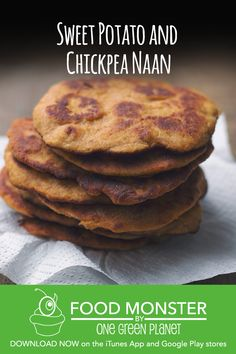 Made from a blend of spelt and chickpea flour with sweet potato mixed in, it is not quite as fatty as a takeout naan bread and a lot drier in texture, but is absolutely delicious. Vegan Indian Recipes, Vegetarian Recipes, Healthy Recipes, Vegan Baking, Vegan Food, Dinner Is Served, Naan, Plant Based Recipes, Quick Easy Meals