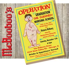 Medical or nursing graduation party invitation top zazzle products operation board game inspired nursing school graduation party invitations must have filmwisefo
