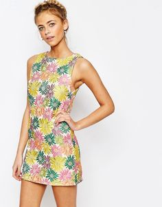 """Buy it now. True Decadence Floral Jacquard Mini Shift Dress - Multi. Dress by True Decadence Floral jacquard Round neckline Zip back Slim fit - cut closely to the body Hand wash 100% Polyester Our model wears a UK 8/EU 36/US 4 and is 170cm/5'7"""" tall , vestidoinformal, casual, camiseta, playeros, informales, túnica, estilocamiseta, camisola, vestidodealgodón, vestidosdealgodón, verano, informal, playa, playero, capa, capas, vestidobabydoll, camisole, túnica, shift, pleat, pleated, drape,..."""