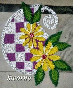 23 Ideas for flowers painting design watercolour Colorful Rangoli Designs, Rangoli Designs Diwali, Beautiful Rangoli Designs, Kolam Designs, Kolam Rangoli, Rangoli Patterns, Rangoli Ideas, Flower Arrangement Designs, Flower Designs