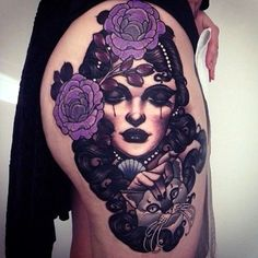 Amazing tattoos by Emily Rose Murray Neotraditionelles Tattoo, Sugar Tattoo, Rabe Tattoo, Tattoo Foto, Tattoo Blog, Piercing Tattoo, Tattoo Flash, Body Piercing, Lila Tattoos