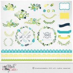 BlumeFrames und Lace Digital Clipart Bänder und von BlackCatsMedia, $3.50