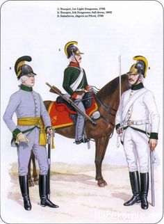 AUSTRIA - Jaeger zu Pferd , Subaltern, 1798. 1st Light Dragoons, Trooper, 1798 & 5th Dragoons, trooper, Full Dress,1802