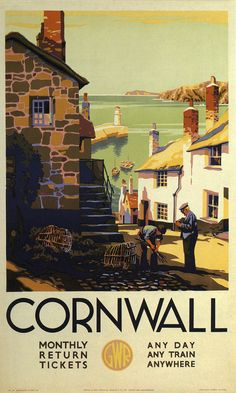 vintage travel posters travel posters of ireland. Cornwall vintage travel poster This beautiful travel poster reminds me a lot of th. Old Poster, Poster Ads, Advertising Poster, Poster Prints, Art Print, Posters Uk, Railway Posters, Vintage Travel Posters, Retro Posters