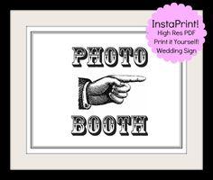 Photo Booth - Wedding Sign - Printable Poster - DIY Wedding - Downloadable File. $5.00, via Etsy.