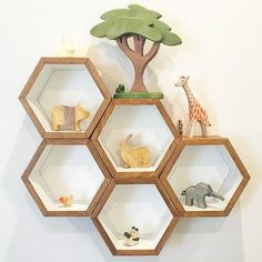 How fabulous is this display of our African Tree Sitting Frog Running Giraffe Baby Elephant & Baby Panda by @solscapes.landscaping  #nocnoc #woodentoys #love #inspo #nursery #interiors #style #handmadewithlove #shopsmall by noc_noc_wooden_toys