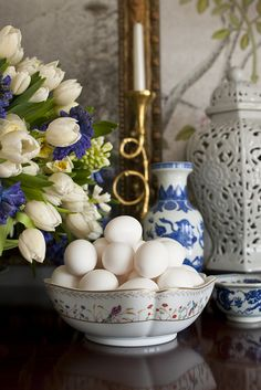 On the buffet, along with two big bowls of white eggs was a giant arrangement of white tulips and white and blue fragrant hyacinth