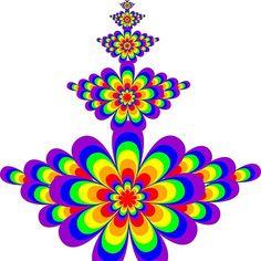 Rainbow floral fractal composition