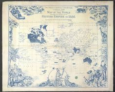 The India & Colonial Exhibition, London, 1886. Map - caption: 'British Empire map'
