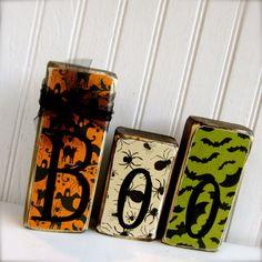 Double Sided Boo / Joy 3 Block Halloween / Christmas Set. Halloween Wood Blocks Christmas Wood Blocks on Etsy, $15.95