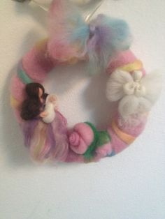 Il mondo della lana fiaba e cardata the world of fairy and carded wool: CORONA NASCITA,wreaths for babies