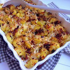 gratinierte Matschkartoffeln mit Knoblauch und Parmesan