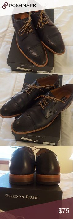 Gordon Rush Men's Navy Leather Cap Derby Shoe Gorgeous like new shoes.  Gordon Rush Men's Navy Leather Cap Derby Shoes can be worn so many ways.  Intricate cap toe details.  Beautiful navy color.  Size 10.5.  No flaws to note. Gordon Rush Shoes