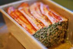 Super Porktastic Bacon-Topped Spinach and Mushroom Meatloaf - Nom nom paleo's spinach pork meatloafy goodness - Primal Recipes, Pork Recipes, Whole Food Recipes, Cooking Recipes, Meatloaf Recipes, Mushroom Meatloaf, Pork Meatloaf, Pork Mushroom, Nom Nom Paleo