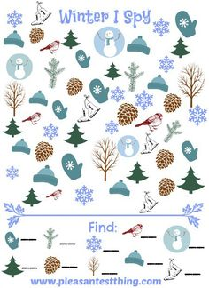Spy Game Winter I Spy Game (free; from The Pleasantest Thing)Winter I Spy Game (free; from The Pleasantest Thing) Winter Fun, Winter Theme, Winter Craft, Winter Holiday, Activity Sheets For Kids, I Spy Games, Free Games For Kids, Hidden Pictures, Christmas Activities