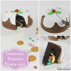 Christmas Pudding Pinata Cake so making this again so easy and fun