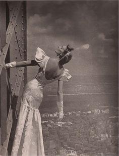 Model wearing Mainbocher dress at the Eiffel Tower, Harper's Bazaar, 1939