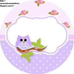 Montando a minha festa: Corujinha floral Owl Themed Parties, Owl Birthday Parties, Owl Classroom, Butterfly Template, Bottle Cap Images, Pretty Box, Note Paper, Name Cards, Scrapbook Paper