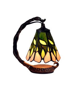Small Tiffany Style Colorized Bell Shape Night Light with Pink Flower and Green Leaves Pattern