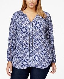 Lucky Brand Jeans Plus Size Printed Woven Blouse