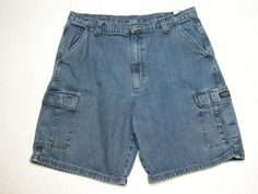 Mens Wrangler  Cargo Shorts Blue Denim sz 38 100% Cotton ( Measure 38X10 )…