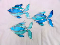 Stained Glass Fish Suncatcher - Turquoise - Folksy