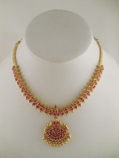 1 Gram gold necklace designs, One Gram Gold Necklace Design, Gold Plated Necklace Designs, Gold Plated Ruby Necklace Designs Ruby Necklace Designs, Simple Necklace Designs, Gold Ruby Necklace, Gold Necklace Simple, Jewelry Design Earrings, Pretty Necklaces, Jewellery Designs, Jewelry Necklaces, Jewellery Box