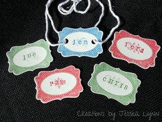 Customizable Christmas tag labels - set of 12