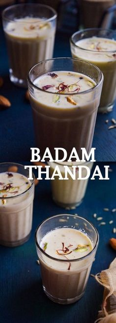 Delicious Indian spiced cold milk called Thandai made with cooling ingredients like fennel seeds, poppy seeds etc. Indian Drinks, Indian Desserts, Indian Food Recipes, Indian Sweets, Milk Recipes, Sweet Recipes, Dessert Recipes, Party Desserts, Cream Recipes