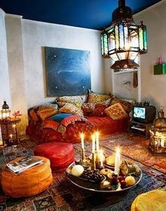 Bohemian Living Room. I love how the dark blue ceiling makes this room feel like it is outdoors.