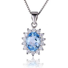 Jewelrypalace 2.4ct Natural Blue Topaz Kate Middleton's Princess Diana Engagement 925 Sterling Silver Pendant Necklace 18 Inch