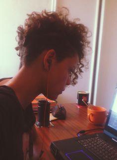 short curly hair with undercut                                                                                                                                                                                 Plus