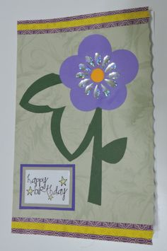 Silhouette cameo flower birthday card, with washi tape and bling