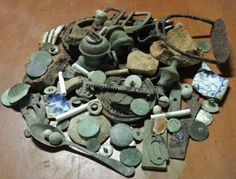 CIVIL WAR RELICS I dug in Savannah.... shell frags,  flat buttons, coins, etc...