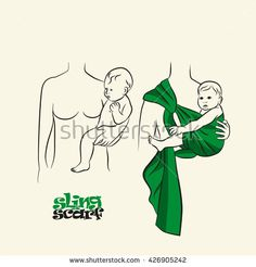 Infographics, how to wear a scarf sling. The correct position of the baby in a sling. The stylized image of mother and baby in her arms. Vector drawing sling scarf.