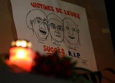 "A drawing depicting cartoonist Jean Cabut, left, Charlie Hebdo editor Stephane Charbonnier, center, and cartoonist Georges Wolinski, all three of whom were killed when masked gunmen stormed the Paris offices of a weekly newspaper Charlie Hebdo and reading in French, ""Victims of their success, R.I.P"", is placed outside the French Embassy as people gather to express solidarity with victims of the attack in Berlin, Germany, Wednesday, Jan. 7, 2015. Three masked gunmen shouting ""Allahu akbar!""…"