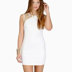 💎CLEAR OUT💎 NWT White mesh Dress White dress with gold sequins and mesh back from TOBI. NEW WITH TAGS size S. Thick enough that it's not see through, super cute for a dance/formal! Tobi Dresses Mini