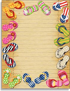 A colorful way to celebrate a pool side party or a beach themed celebration.  Designed with fun and colorful flip flops that are arranged around the page with the background designed as a wooden deck.  Leaving plenting of space for your personalization on this great laser paper.  Colored envelopes are available but are sold seperately.
