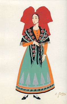 L'Alsace, French Provincial Costumes (1936), artist: Emile Gallois