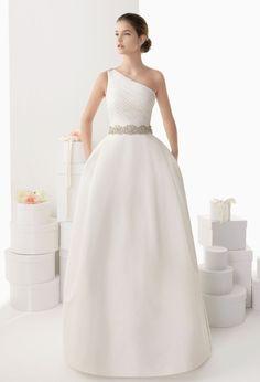 One shoulder + pockets ~ Rosa Clara 2014 Bridal Collection via Belle The Magazine