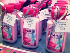 Paris body lotion from Bath and Body Works. Bridal Shower party favors.
