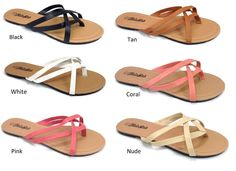 1843ad01a95133 Women s Summer Comfort Casual Strappy Thong Flat Flip Flops Sandals Faux  Leather in Clothing