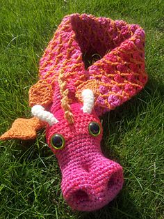 Adorable Crochet Dragon Scarf.  Not a free pattern.