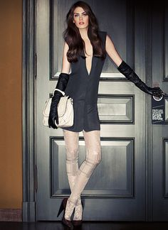 Tights and leather gloves