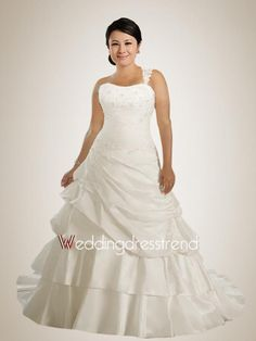 [$179.00] Delicate Strapless Applique Plus Size Wedding Dress with Pick-ups