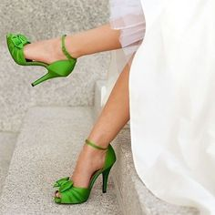 Shoespie Greenery Bow Appliqued Ankle Wrap Bridal Shoes